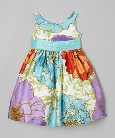 This Teal & Purple Carol Dress - Toddler & Girls is perfect! #zulilyfinds