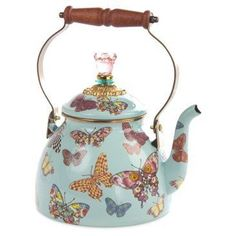 Check out this item at One Kings Lane! Butterfly Garden Teakettle, Sky Blue