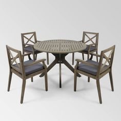 Llano 5pc Patio Dining Set - Christopher Knight Home : Target Wicker Dining Set, Round Dining Set, 4 Dining Chairs, Outdoor Dining Furniture, Dining Chair Cushions, Grey Cushions, Outdoor Dining Set, Patio Dining, Grey Table