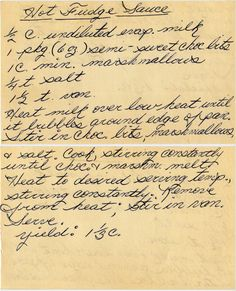 first of two recipes in this box for hot fudge sauce. The second is here. From a box sold in Columbiaville, Michigan. Hot Fudge Sauce (as written on the card) c. Retro Recipes, Old Recipes, Fudge Recipes, Cookbook Recipes, Vintage Recipes, Sauce Recipes, Cooking Recipes, Donut Recipes, Recipies