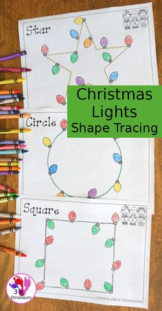 Free Christmas Lights Shape Tracing - 9 Shapes For Kids To Work On With A Fun Christmas Theme - Christmas Activities For Kids, Preschool Christmas, Christmas Themes, Kids Christmas, Preschool Activities, Holiday Crafts, Preschool Art, Christmas Worksheets, Winter Activities