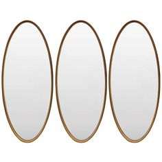 Glamorous Trio of La Barge Gold Leaf Oval Mirrors | From a unique collection of antique and modern wall mirrors at https://www.1stdibs.com/furniture/mirrors/wall-mirrors/