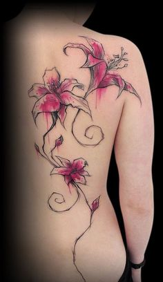 Realistic lily back tattoo - 55  Awesome Lily Tattoo Designs  <3 <3