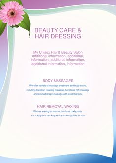 Customize these spa and salon flyer template for your business.