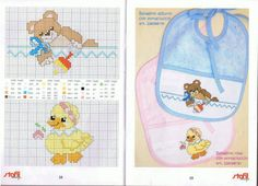 Per realizzare questi bavaglini a punto croce serve davvero poco, un briciolo di tempo, un minimo di manualità, uno di questi schemi e un po' di pazienza. Cross Stitch For Kids, Cross Stitch Baby, Cross Stitch Animals, Cross Stitch Charts, Cross Stitch Designs, Cross Stitch Patterns, Baby Embroidery, Cross Stitch Embroidery, Baby Bibs Patterns