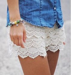 These crochet shorts are super cute with the cute ribbon belt along the front. 100% cotton lining, 100% Poly. Paired with the cute Rose Garden- Ivory Top and Hazelnut Fringe-Heels. Model is 5'4 size 4