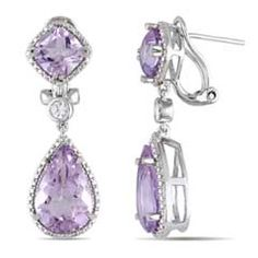 Rose de France Amethyst and Lab-Created White Sapphire Drop Earrings in Sterling Silver