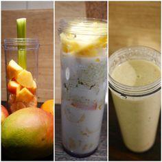 Banana, celery, mango, persimmon, oats, matcha, almond milk