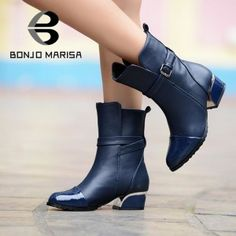 Motorcycle Boots with Low Heels for Women.  Fashion Half Knee Ankle Boots  comes in other colors too.