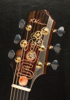 Kathy Wingert Guitars - Fine custom acoustic guitars, harp guitars, and custom stringed instruments. Bass Ukulele, Music Guitar, Cool Guitar, Custom Acoustic Guitars, Custom Guitars, Unique Guitars, Vintage Guitars, Steampunk Guitar, Guitar Crafts