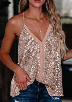 Trending now: This irresistible sparkly tank top adopts sequin layer with spaghetti straps and panel font. With it soft lining it make it comfortable to wear. It creates beautiful sparkle in the stage lights on the dance floor. Wear it with your skinny jeans and high heel and you are ready to sparkle the night away. Sequin Cami Top, Pink Sequin, Summer Tank Tops, Midi Dresses Online, Cami Tops, Vest Tops, Racerback Tank, Sequins