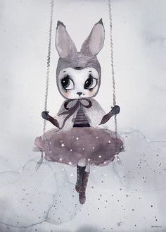 Mrs Mighetto 'Circus Mighetto' Miss Astrid watercolour art print - 50x – norsu interiors