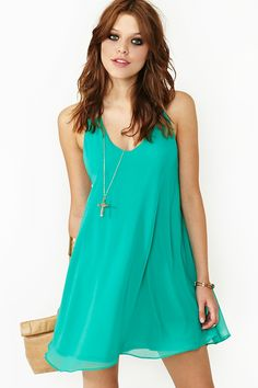 Chained Triangle Dress. Flowy, short minty colored dress with chain detailing on back. $48, only available in sizes Small and Medium.