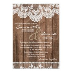 Lace Wedding Invitation Rustic White Lace and Wood Wedding Invitation