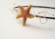 Summer bridal fascinator, Starfish head piece, Beach wedding hair, Summer bridal crown, Destination wedding, Nautical wedding, Beach bridal on Etsy, $42.00