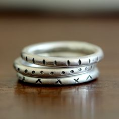 Tribal stacking rings from Praxis Jewelry