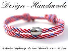 Armbänder - Surfer Armband MARITIM Surferarmband Blau Rot Weiß - ein Designerstück von Design-Handmade bei DaWanda