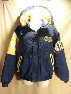VINTAGE Starter Men's University of Michigan Coat Jacket Parka Blue/Yellow Lg