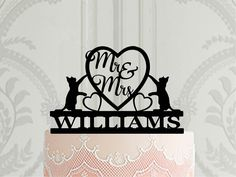 Personalized Wedding Cake Toppers, Custom Cake Toppers, Custom Cakes, Wedding Cakes, Wedding Cake Decorations, Wedding Topper, Cat Cake Topper, Cat Wedding, Birch Ply