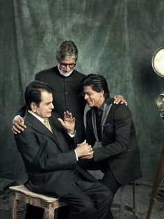 Shahrukh Khan with Bollywood legends Dilip Kumar and Amitabh Bachchan at Filmfare photoshoot celebrating 100 years of Indian cinema (2013).