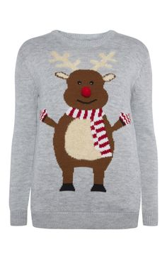 Primark - Grey Rudolf Christmas Jumper