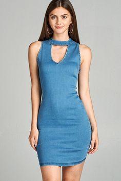 Salt Tree Women's Sleeveless Chambray Open Front Denim Dress, US Seller