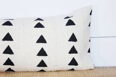 African Mudcloth Pillow Cover Lumbar Black and White | Etsy