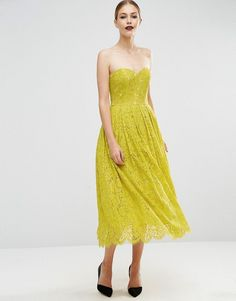 51368995cd ASOS Sweetheart Lace Bandeau Midi Dress - Green Green Midi Dress