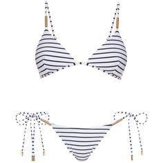 Melissa Odabash Verona shoulder-strap triangle bikini (825 BRL) ❤ liked on Polyvore featuring swimwear, bikinis, bikini, bathing suit, swim, swimsuits, black stripe, triangle swimsuit, bikini bathing suits and triangle bikini