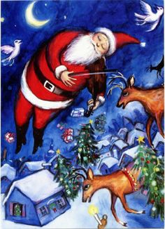Santa's Fiddle - Chagall Fiddler Art Parody Boxed Holiday Cards Easy Street Publications