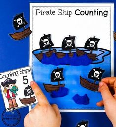 Pirate Ship Counting Activity for Preschool - Preschool Numbers Unit#preschool #planningplaytime #preschoolmath Letter P Crafts, Letter P Activities, Pirate Activities, Counting Activities, Preschool Letters, Preschool Activities, Montessori Preschool, Montessori Elementary, Preschool Worksheets