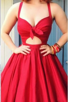 Red Deep V Neck Bowknot Homecoming Dress, A Line Strapless Sexy Homecoming Dress