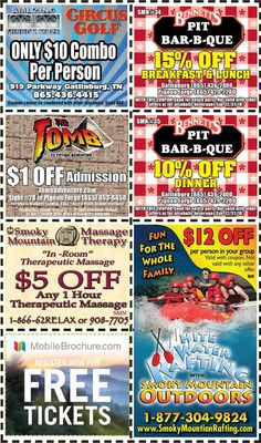Discount Coupons for the Smoky Mountains - Pigeon Forge Discounts - Gatlinburg Discount Coupons Gatlinburg Coupons, Gatlinburg Vacation, Bar B Que Pits, Golf Bar, Bird Netting, Mountain Vacations, Pigeon Forge, Discount Coupons, Vacation Spots