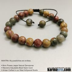 Picasso Jasper often resembles a beautiful painting, a stone that reminds us to celebrate and enjoy life. Picasso Jasper assists in the transformation of relationships, attracting like minded people who become loyal and trusted friends, as well as helping to renew old friendships.     #yoga #gifts #Mens #mantra #Chakra #lucky #stretch #bracelets #LOA #lucky #love #tiger #lawofattraction #jewelry #charm #spiritual #gifts