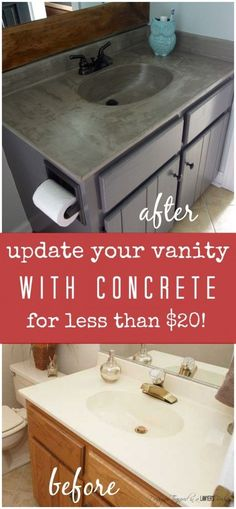 DIY Vanity Makeover using Concrete Overlay! DIY vanity update using a concrete overly for under twenty bucks! Full tutorial by Designer Trapped in a Lawyer's Body. Diy Vanity, Bathroom Vanity Makeover, Bathroom Vanities, Refinish Bathroom Vanity, Paint Bathroom Cabinets, Bathroom Sink Tops, Mirror Makeover, Vanity Ideas, Mirror Ideas