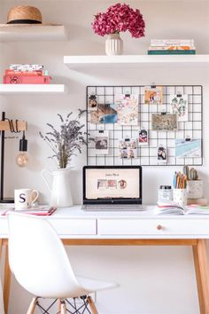 Home Office Room Design Ideas Study Room Decor, Cute Room Decor, Wall Decor, Home Office Design, Home Office Decor, Office Desk Decorations, Office Furniture, Office Designs, Office Ideas For Home