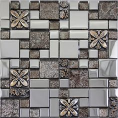 Silver glass tile mosaic shower wall designs plated craftsman brown crystal glass tile patterns for kitchen backsplash ideas Size: Color: Silver and Brown; Shape: Square and Rectangle; Glass Mosaic Tile Backsplash, Stone Mosaic Tile, Mosaic Glass, Glass Tiles, Tile Mosaics, Backsplash Ideas, Kitchen Wall Tiles Design, Kitchen Tiles, Tile Design