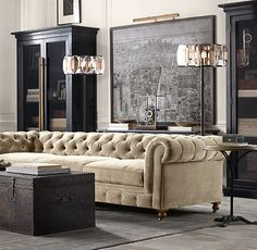 Ideas art deco interior living room layout for 2019 New Living Room, Living Room Sofa, Living Room Decor, Chesterfield Living Room, Cozy Living, Apartment Living, Rustic Living Room Furniture, Home Furniture, Furniture Buyers