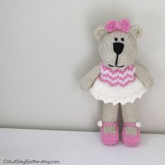 Hand Knit Bear Toy  Stuffed Bear Toy  Child by cotuitbayknitter #EtsyRabbits