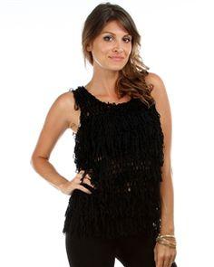 Black Looped Fringe Crochet Knit Sleeveless Top