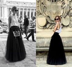 Rue mode Style 5 couches Tulle jupe longue femme bonbons couleur noir plissé Maxi femmes jupes 2015 New CHIC