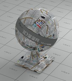 Newspaper on the wall vray material V Ray Materials, Newspaper, Snow Globes, Wall, Decor, Decoration, Journaling File System, Walls, Decorating