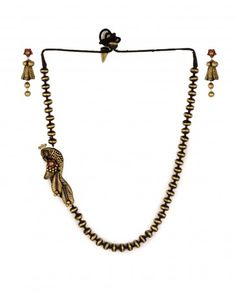 Golden and Black Beaded Necklace Set with Peacock Pendant by Maatikaar Shop Now: http://bit.ly/maatikaarnew #Earthy #Terracotta #Jewelry #Maatikaar #India #Classy #Traditional #Indian #Designer #Earrings #Necklaces #Jewellery #Red #Brown #Black #Golden #ExclusivelyIn #Golden