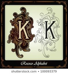 capitals and initials in the rococo style hand-made on the basis of ancient manuscripts - stock vector Sri Ram Photos, Banner, Typography, Lettering, Rococo Style, Calligraphy Art, Clipart, Illustration, Alphabet