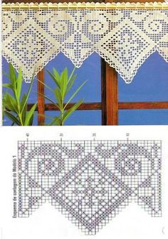 hermosas cenefas crochet (3) Filet Crochet, Crochet Borders, Irish Crochet, Knit Crochet, Crochet Patterns, Crochet Curtains, Crochet Doilies, Crochet Flowers, Wiggly Crochet