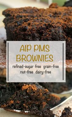 AIP PMS Brownies [Paleo] Serves 4 | Prep Time 15 minutes | Bake Time 21-23 minutes ¾ cup frozen blueberries, thawed ½ cup + 2 tbsp Carob powder ¼ cup softened Coconut butter ¼ cup Coconut or maple sugar 1 tsp Cream of tartar 1/2 tsp Baking soda ¼ tsp Sea salt Gelatin Egg (recipe in instructions)