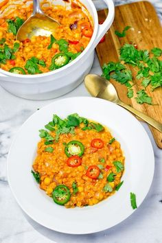 This Moroccan Chickpea Lentil Soup is also know as Harira Soup and is full of incredible flavors. A one pot meal which is naturally vegan and gluten free.