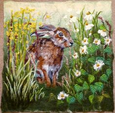 MarmaladeRose. wet felted wool painting with free motion machine embroidery.