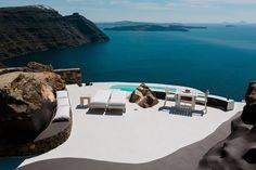 terrasse griechenland weiß stein bodenbelag pool meerblick pool