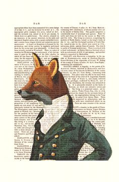 The Dandy Fox Portrait Acrylic Art Original Painting Print Mixed Media Fox Print Fox Illustration wall art wall decor Wall Hanging